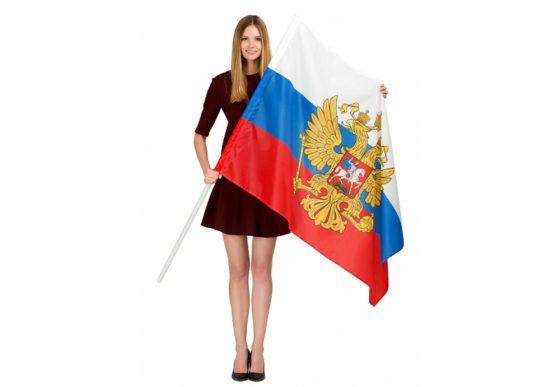 флаг россии с девушкой